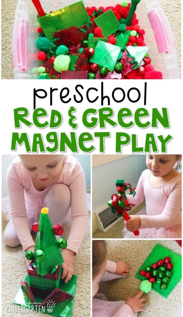 We LOVE this Red & Green Magnet Play sensory bin. Perfect for exploration with a Christmas theme in tot school, preschool, or even kindergarten!