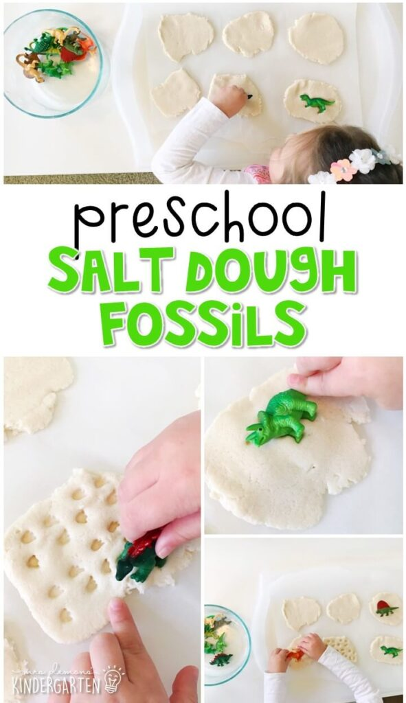 We had a blast making these salt dough dinosaur fossils for our dinosaur theme Perfect for tot school, preschool, or even kindergarten!