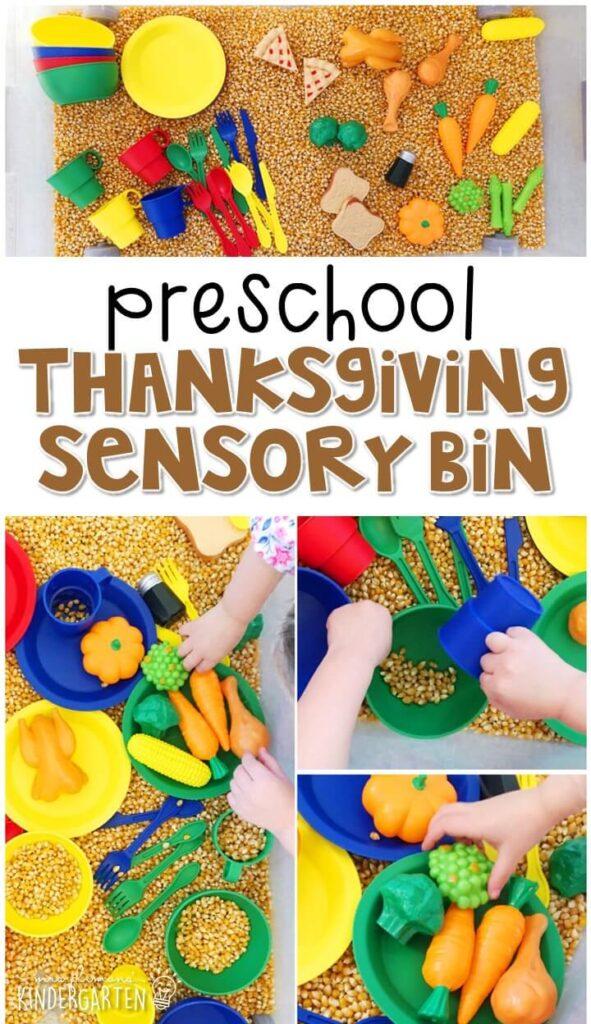 We LOVE this Thanksgiving sensory bin. So fun to play and explore! Great for tot school, preschool, or even kindergarten!