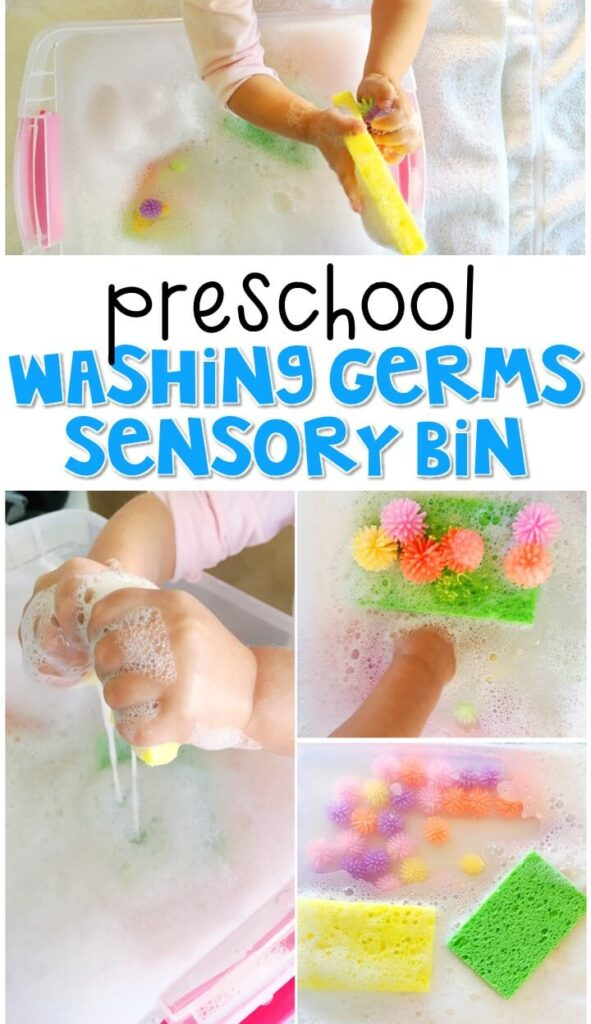 We LOVE this washing germs sensory bin. Great for a healthy habits theme in tot school, preschool, or even kindergarten!