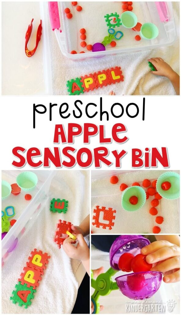 We LOVE this bobbing for apples sensory bin. Great for tot school, preschool, or even kindergarten!
