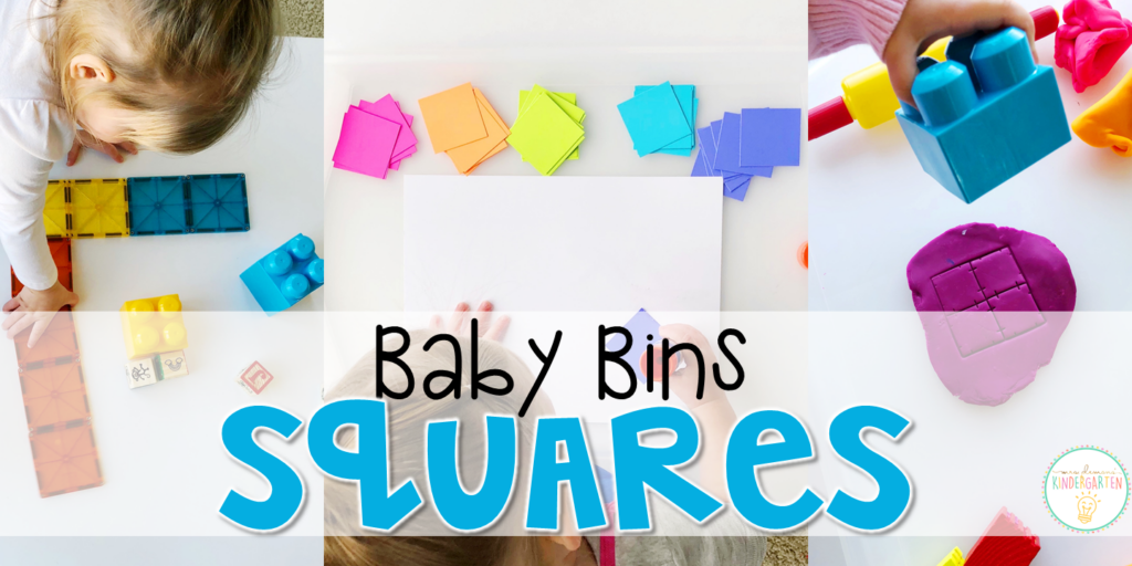 These square themed sensory bins and activities are great for learning shapes and completely baby safe. Baby Bins are the perfect way to learn, build language, play and explore with little ones between 12-24 months old.