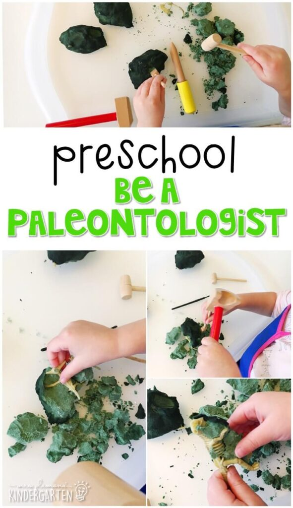 This fossil breaking paleontologist activity was a fun way to explore dinosaur fossils. Great for tot school, preschool, or even kindergarten!