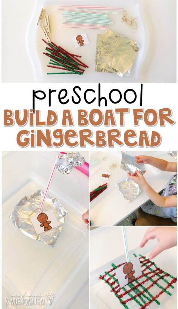 This build a boat for the gingerbread man was a great way to incorporate STEM into our gingerbread theme. Great for tot school, preschool, or even kindergarten!