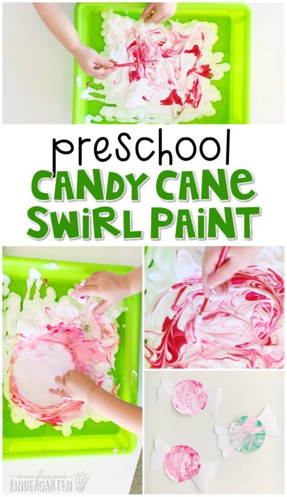 This candy cane swirl painting was a fun way to create our own swirled candy designs. Great for a Christmas theme in tot school, preschool, or even kindergarten!
