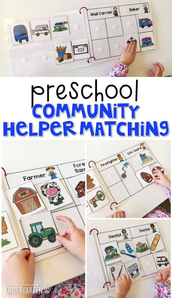 This community helper matching book is a great way to learn about different jobs and the tools, vehicles, and places associated with each one. Great for building vocabulary with a community helpers theme in tot school, preschool, or even kindergarten!