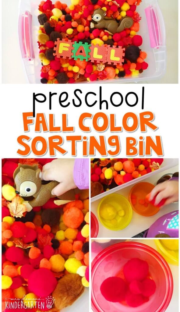 We LOVE this fall color sorting sensory bin. Work on math, fine motor, and problem solving skills with a fun fall theme. Great for tot school, preschool, or even kindergarten!
