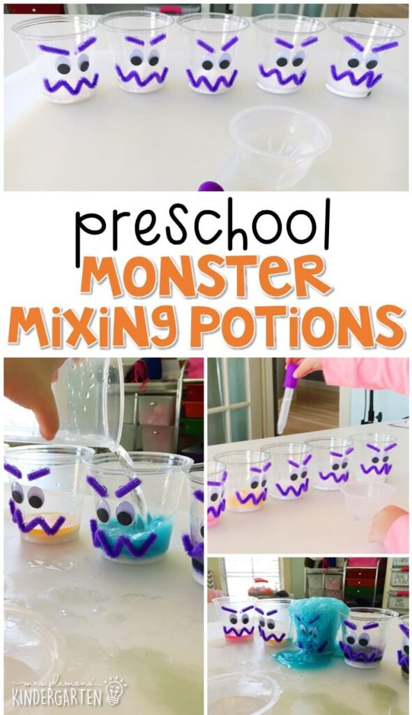 This mixing monster potions experiment was an engaging way to explore chemical reactions and color mixing. Great for Halloween tot school, preschool, or even kindergarten!