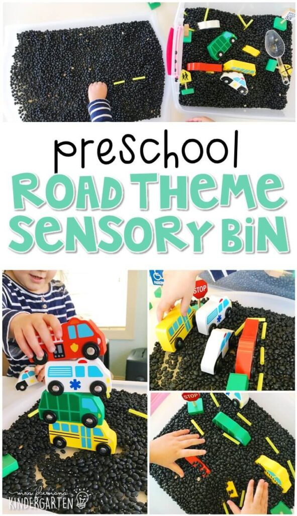 We LOVE this road themed sensory bin. Perfect for exploration with a transportation theme in tot school, preschool, or even kindergarten!