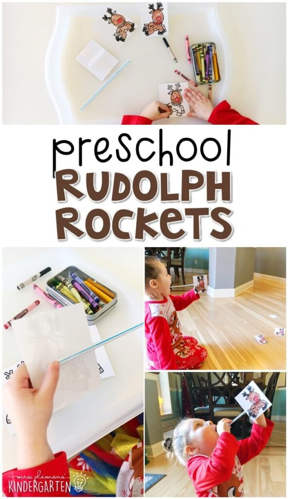 This rudolph rockets activity was a fun way to explore STEM concepts with a reindeer theme. Great for tot school, preschool, or even kindergarten!