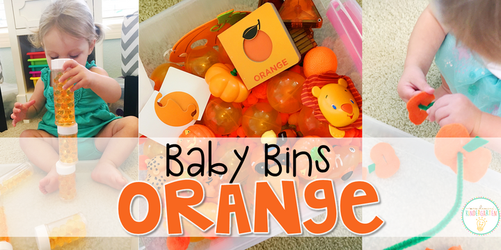 Tons of orange themed activities and ideas. Weekly plans include a book and 5 activities to try out (a mixture of sensory bins, crafts, fine motor and gross motor activities)! These Baby Bin plans are perfect for learning with little ones between 12-24 months old.