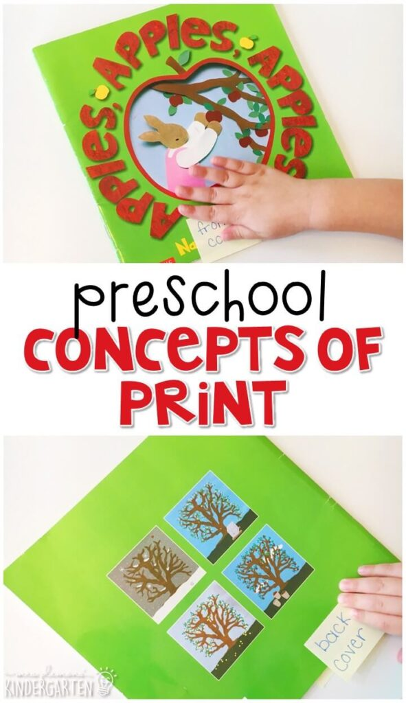 Practice concepts of print with this perfect apple picture book. Great for tot school, preschool, or even kindergarten!