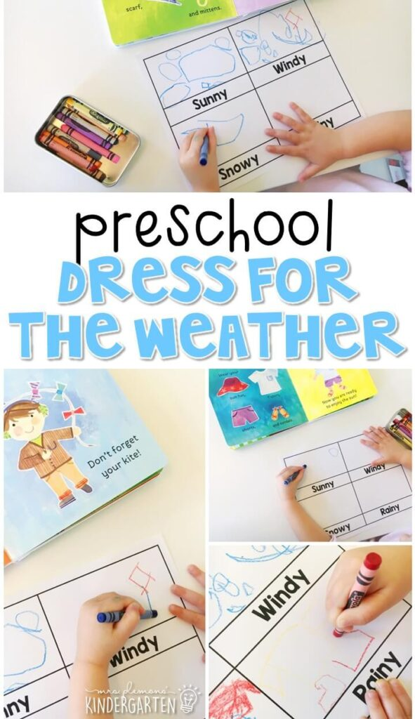 "Practice weather vocabulary and critical thinking with this easy ""dress for the weather"" writing and drawing activity. Great for tot school, preschool, or even kindergarten!"