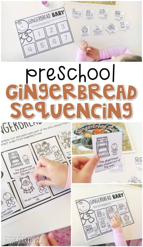 "Practice retelling with ""Gingerbread Baby"" story by Jan Brett. Great for a gingerbread theme in tot school, preschool, or even kindergarten!"