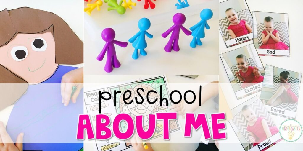 Tons of all about me themed activities and ideas. Weekly plan includes read alouds with comprehension activities, literacy practice, math skills, sensory bins, science and art! Perfect for back to school in tot school, preschool, or kindergarten.