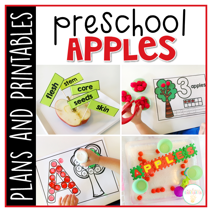 Tons of apple themed activities and ideas. Weekly plan includes read alouds with comprehension activities, literacy practice, math skills, sensory bins, science and art! Perfect for fall in tot school, preschool, or kindergarten.