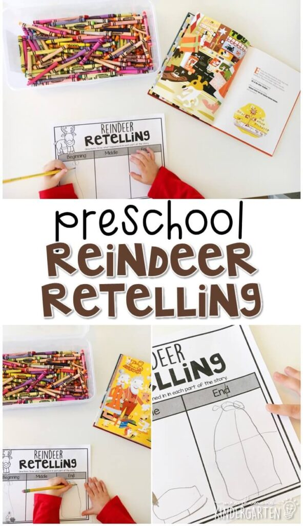 """Practice retelling a story with """"Olive, the Other Reindeer"""" by Vivian Walsh and J. Otto Seibold. Great for a reindeer theme in tot school, preschool, or even kindergarten!"""
