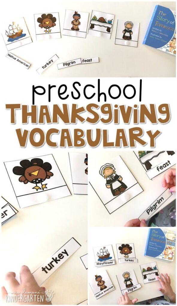 Practice Thanksgiving vocabulary with this word matching activity. Great for tot school, preschool, or even kindergarten!