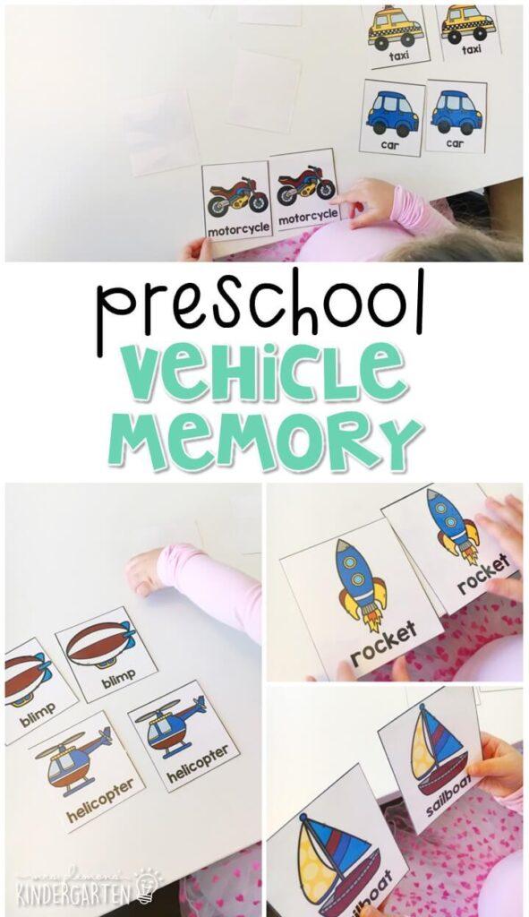 Practice transportation vocabulary with this vehicle memory activity. Great for tot school, preschool, or even kindergarten!