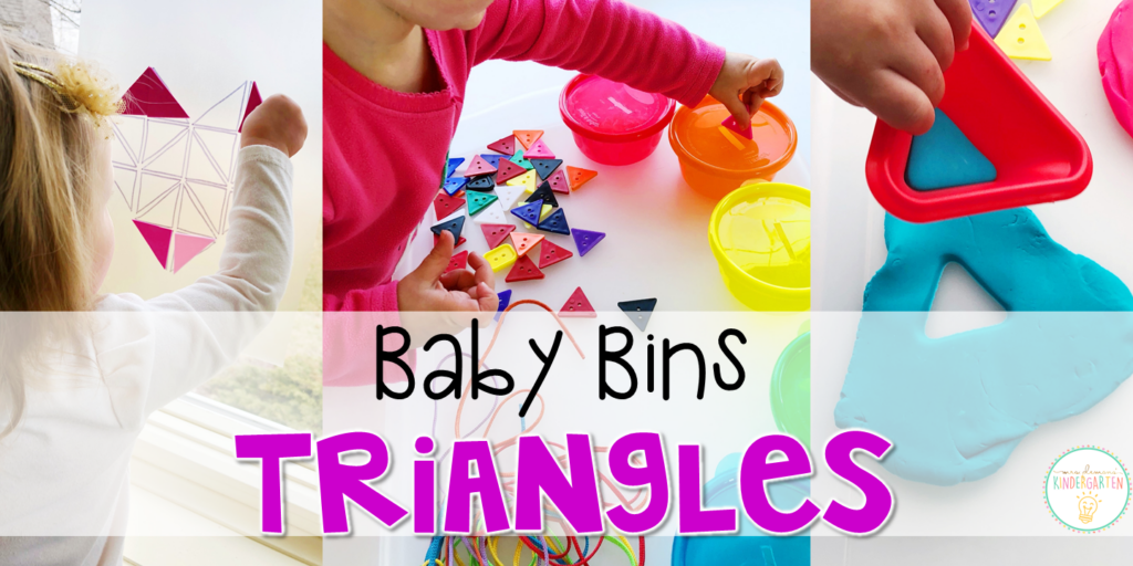 These triangle themed sensory bins and activities are great for learning shapes and completely baby safe. Baby Bins are the perfect way to learn, build language, play and explore with little ones between 12-24 months old.
