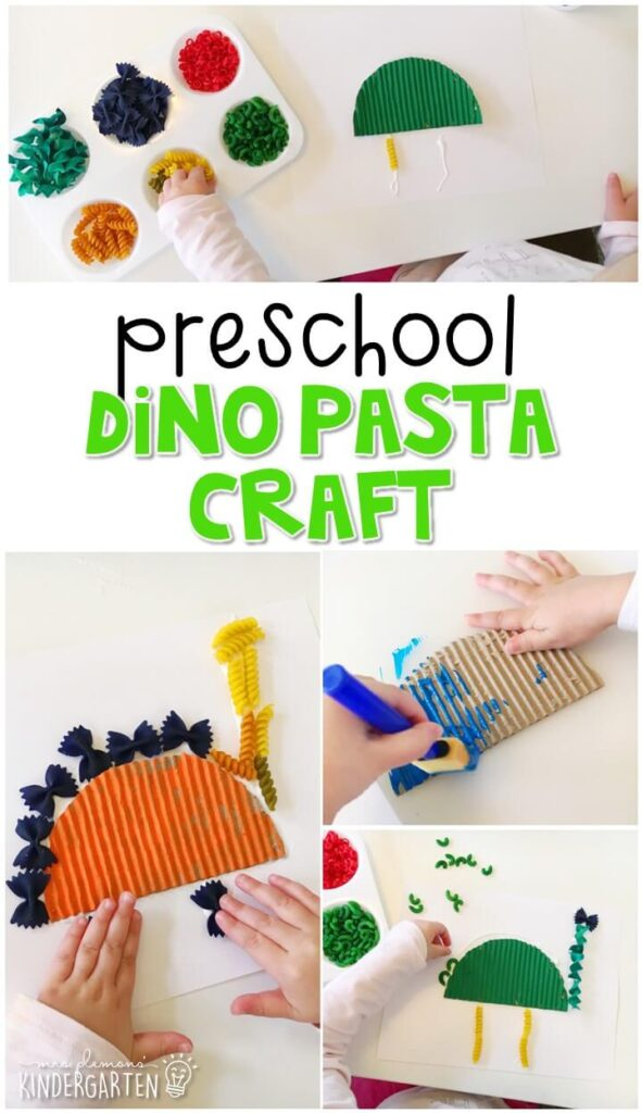 This dinosaur pasta craft was a fun way to create our own dinosaurs. Great for tot school, preschool, or even kindergarten!