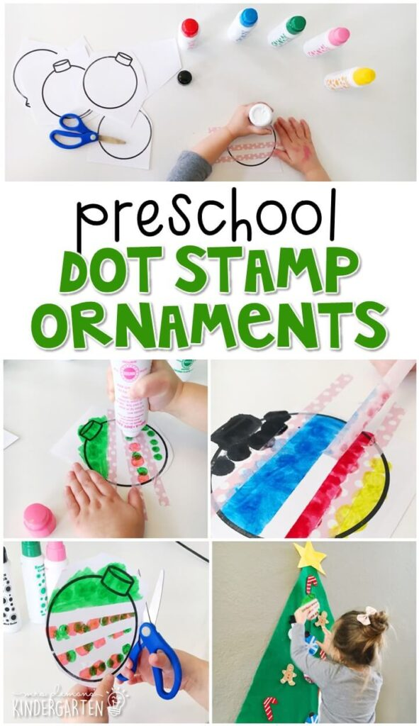 We had a blast making these dot stamp ornaments for our felt Christmas tree. Perfect for tot school, preschool, or even kindergarten!