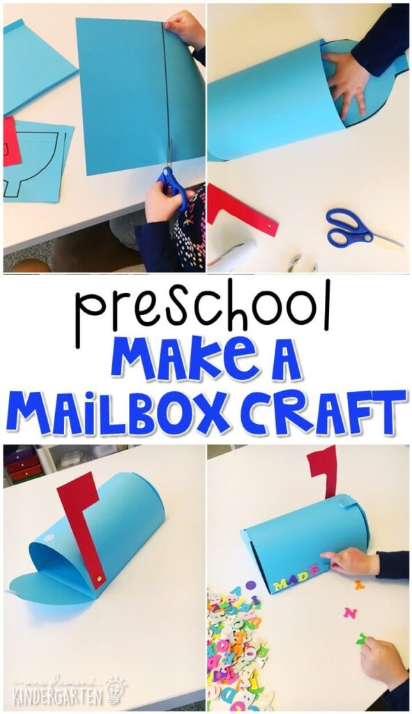 This mailbox craft was a fun way to create our own mailbox for writing and exchanging notes at home. Great for a community theme in tot school, preschool, or even kindergarten!