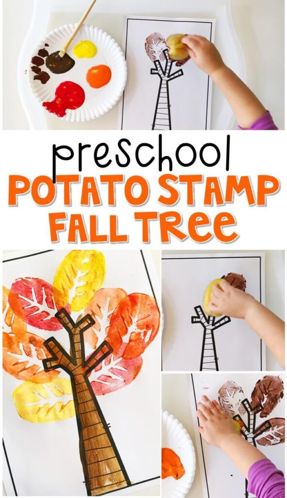 This potato stamp tree is an adorable craft that incorporates lots of fine motor skills practice. Great for fall in tot school, preschool, or even kindergarten!
