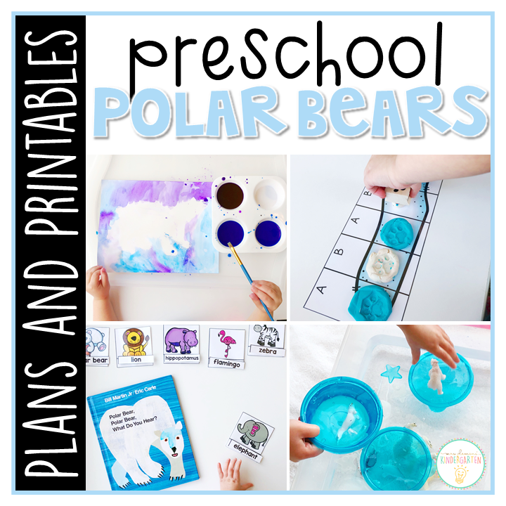 Tons of polar bear themed activities and ideas. Weekly plan includes books, literacy, math, science, art, sensory bins, and more! Perfect for winter in tot school, preschool, or kindergarten.