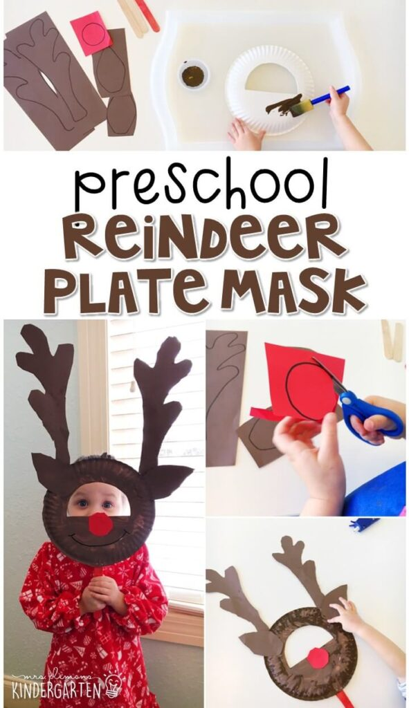 We had a blast making these reindeer plate masks for our reindder theme Perfect for tot school, preschool, or even kindergarten!