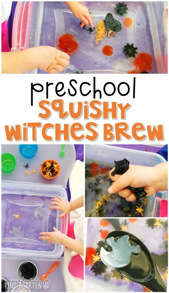 We LOVE this squishy witches brew sensory bin. Perfect for a Halloween theme in tot school, preschool, or even kindergarten