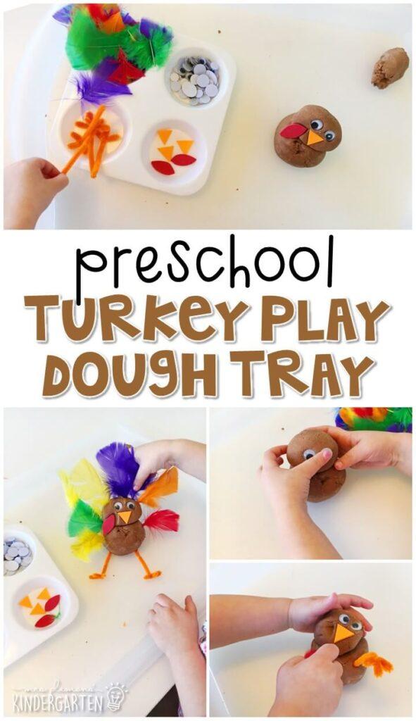We LOVE this turkey play dough sensory play activity. Great for Thanksgiving in tot school, preschool, or even kindergarten!