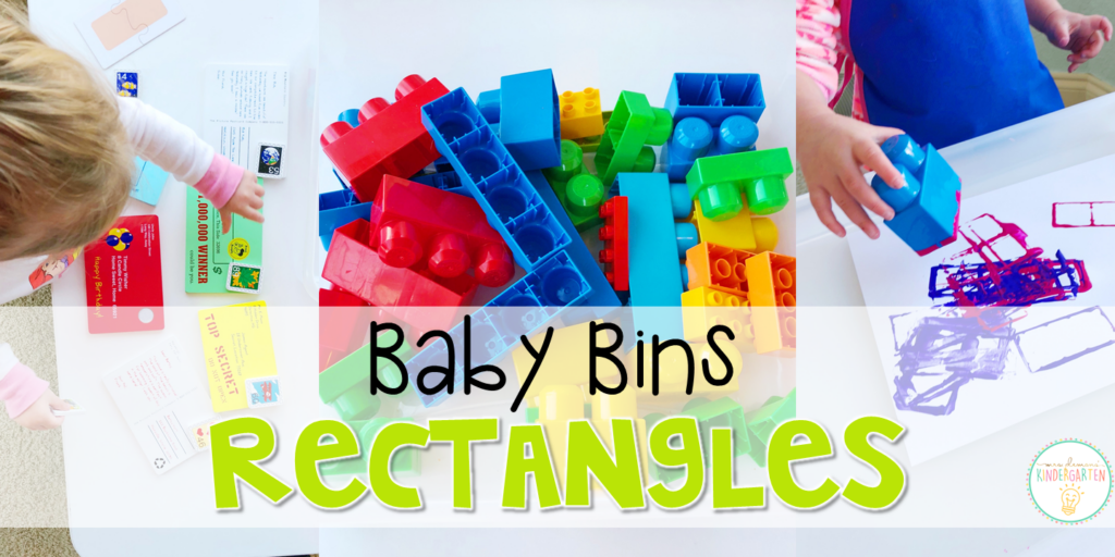 These rectangle themed sensory bins and activities are great for learning shapes and completely baby safe. Baby Bins are the perfect way to learn, build language, play and explore with little ones between 12-24 months old.