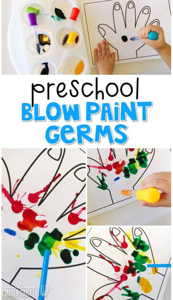 This blow paint germ craft was a fun way to spread pretend germs. Great for a health theme in tot school, preschool, or even kindergarten!