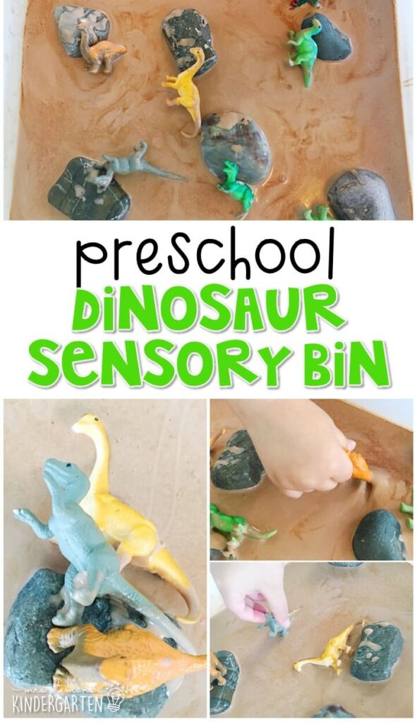 "We LOVE this dinosaur ""mud"" sensory bin. Perfect for exploration with a dinosaur theme in tot school, preschool, or even kindergarten!"