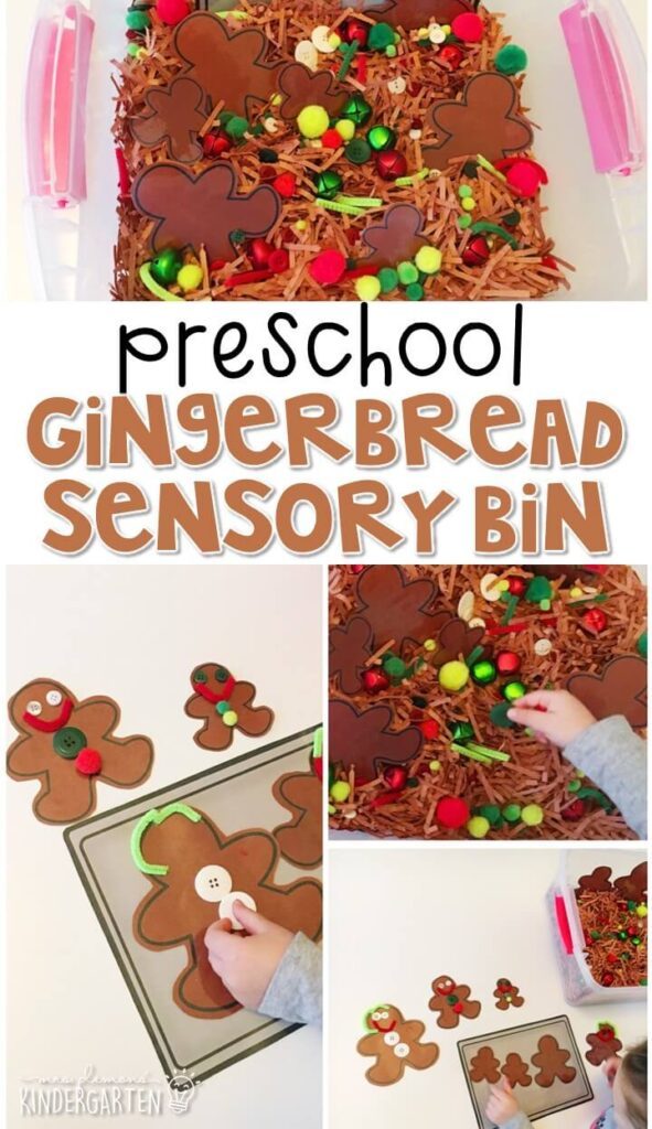 We LOVE this gingerbread baking sensory bin. Perfect for exploration with a gingerbread theme in tot school, preschool, or even kindergarten!