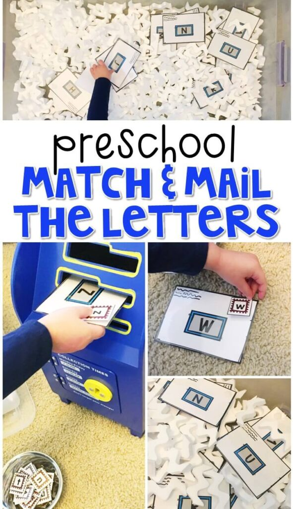 We LOVE this match and mail the letters sensory bin. Perfect for working on letter matching with a community theme in tot school, preschool, or even kindergarten!