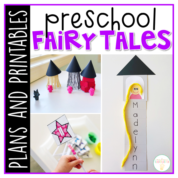 Tons of fairy tale activities and ideas. Weekly plan includes books, literacy, math, science, art, sensory bins, and more! Perfect for tot school, preschool, or kindergarten.