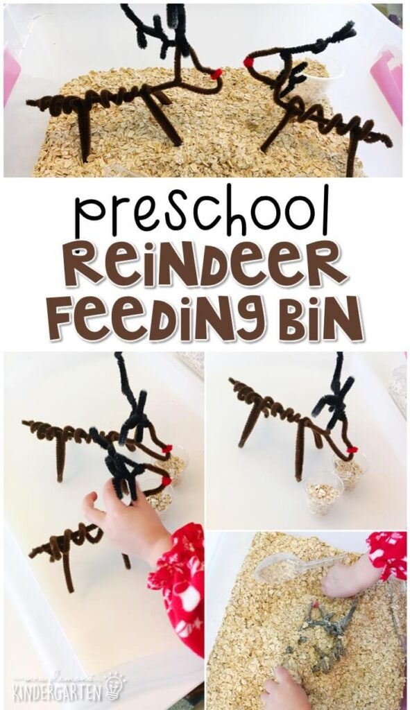 We LOVE this reindeer feeding sensory bin. Perfect for exploration with a reindeer theme in tot school, preschool, or even kindergarten!