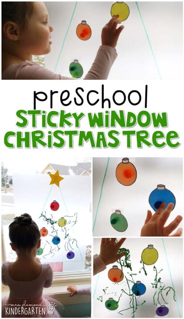 We LOVE this sticky window Christmas tree sensory activity. Perfect for exploration with a Christmas theme in tot school, preschool, or even kindergarten!