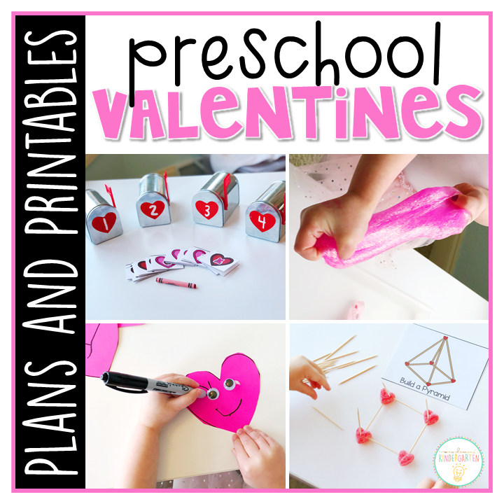Tons of valentines themed activities and ideas. Weekly plan includes books, literacy, math, science, art, sensory bins, and more! Perfect for winter in tot school, preschool, or kindergarten.