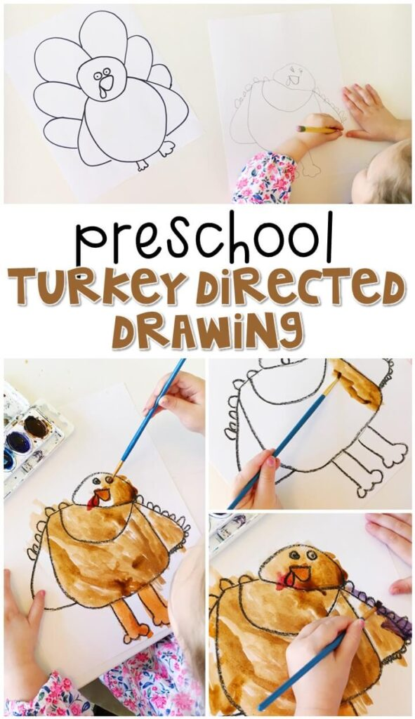 This turkey directed drawing was a fun way to create our own turkeys for Thanksgiving. Great for tot school, preschool, or even kindergarten!