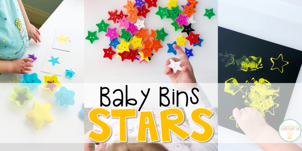 These star themed sensory bins and activities are great for learning and play and are completely baby safe. Baby Bins are the perfect way to learn, build language, play and explore with little ones between 12-24 months old.