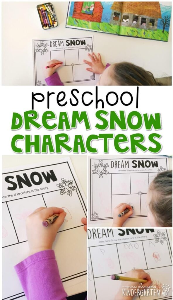 """Practice identifying characters with """"Dream Snow"""" by Eric Carle. Great for a Christmas theme in tot school, preschool, or even kindergarten!"""