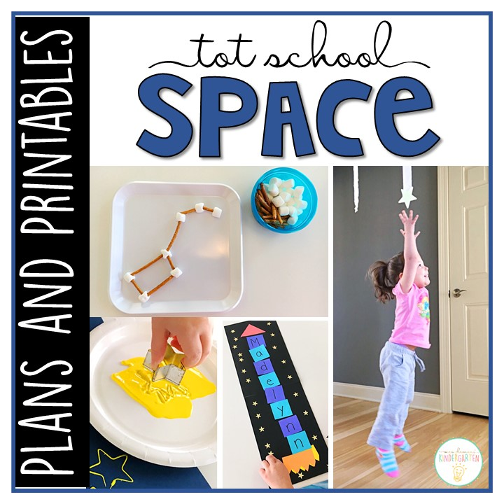 Tons of space themed activities and ideas. Weekly plan includes books, literacy, math, science, art, sensory bins, and more! Perfect for tot school, preschool, or kindergarten.