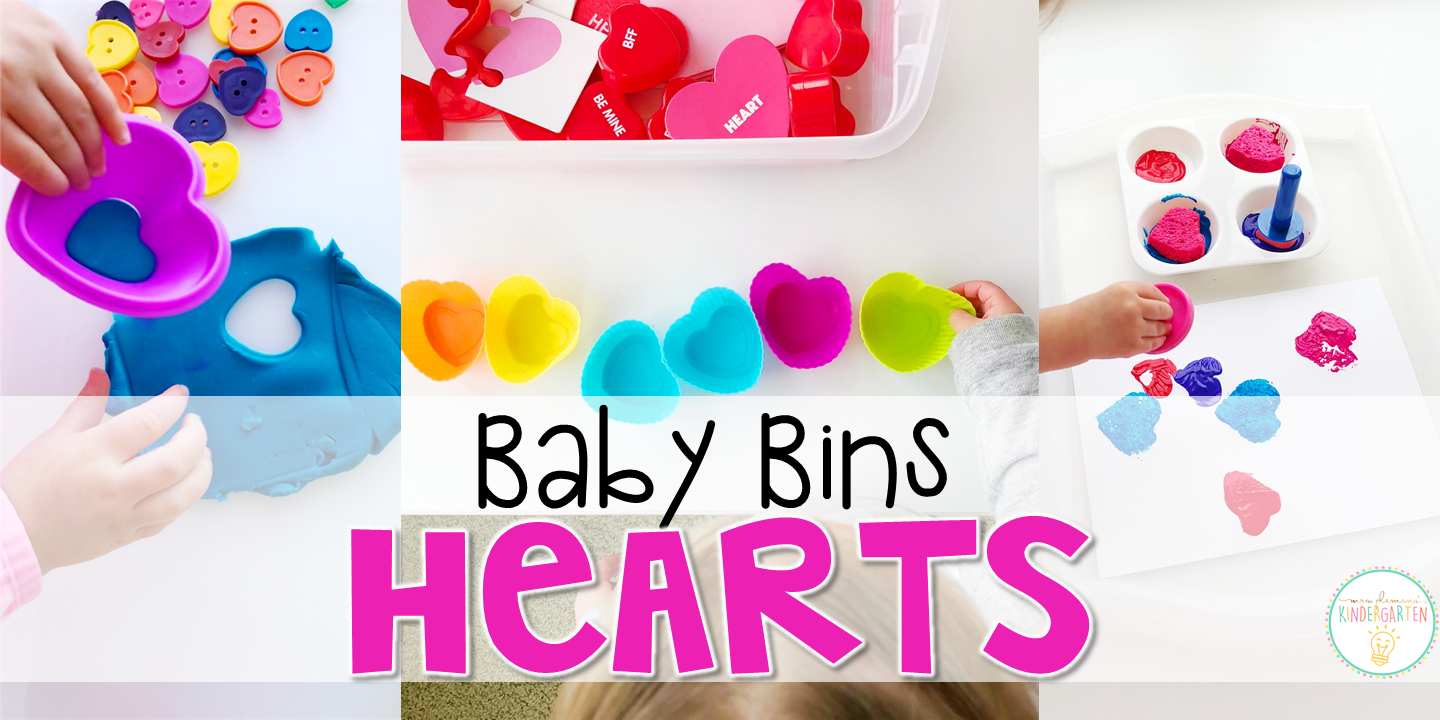 These heart themed sensory bins and activities are great for learning and play and are completely baby safe. Baby Bins are the perfect way to learn, build language, play and explore with little ones between 12-24 months old.