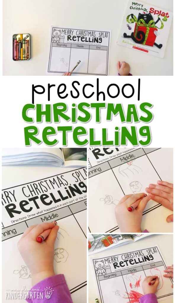 "Practice retelling a story with ""There Was an Old Lady Who Swallowed a Bell"" by Lucille Colandro. Great for a Christmas theme in tot school, preschool, or even kindergarten!"