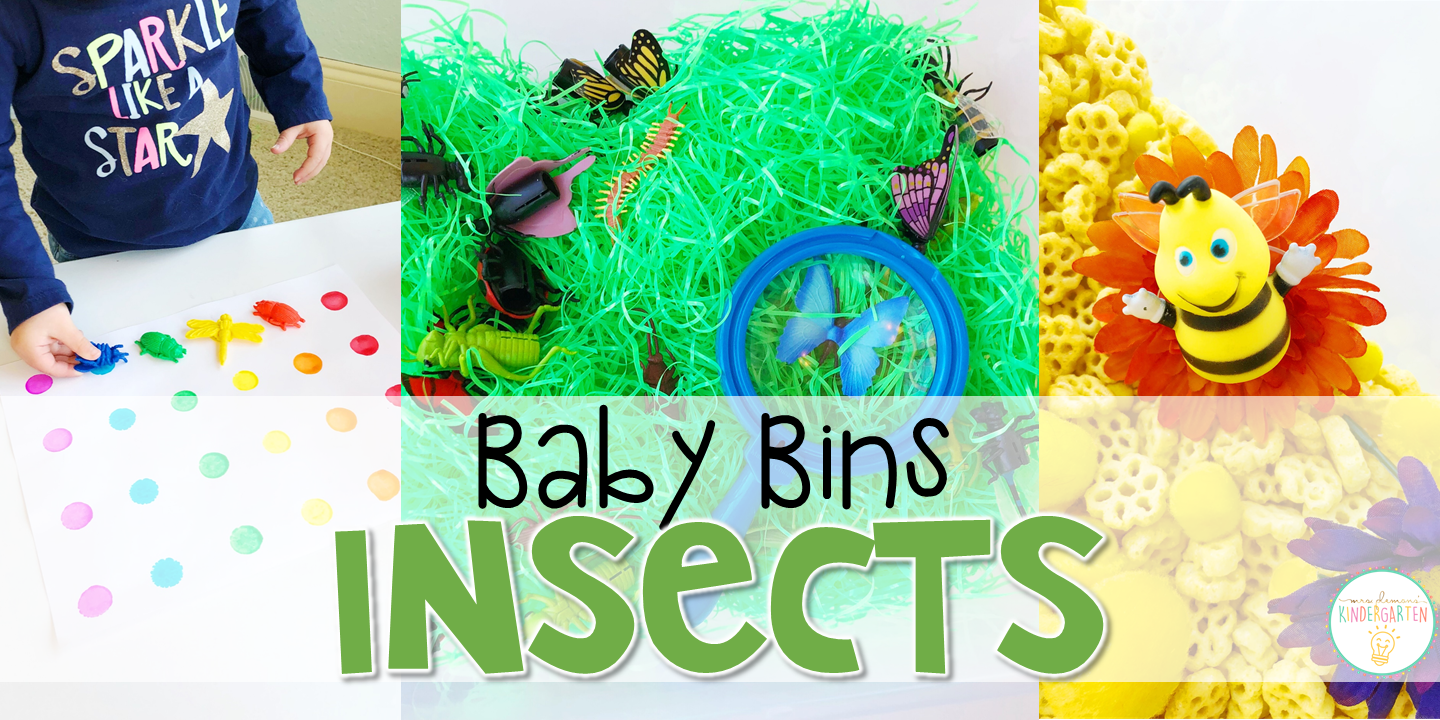 These insect themed sensory bins and activities are great for learning and play and are completely baby safe. Baby Bins are the perfect way to learn, build language, play and explore with little ones between 12-24 months old.