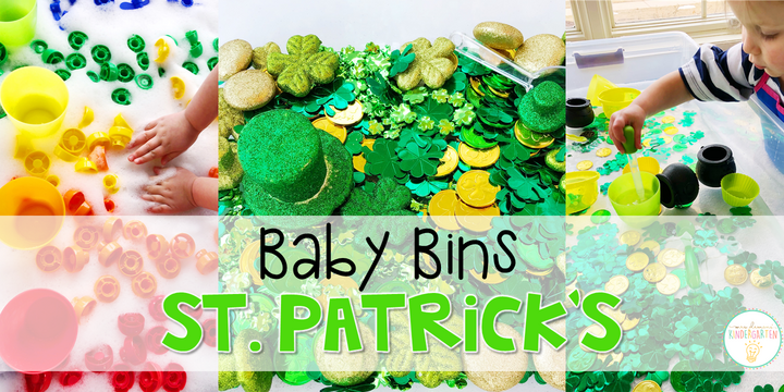 These St. Patrick's Day themed sensory bins and activities are great for learning and play and are completely baby safe. Baby Bins are the perfect way to learn, build language, play and explore with little ones between 12-24 months old.