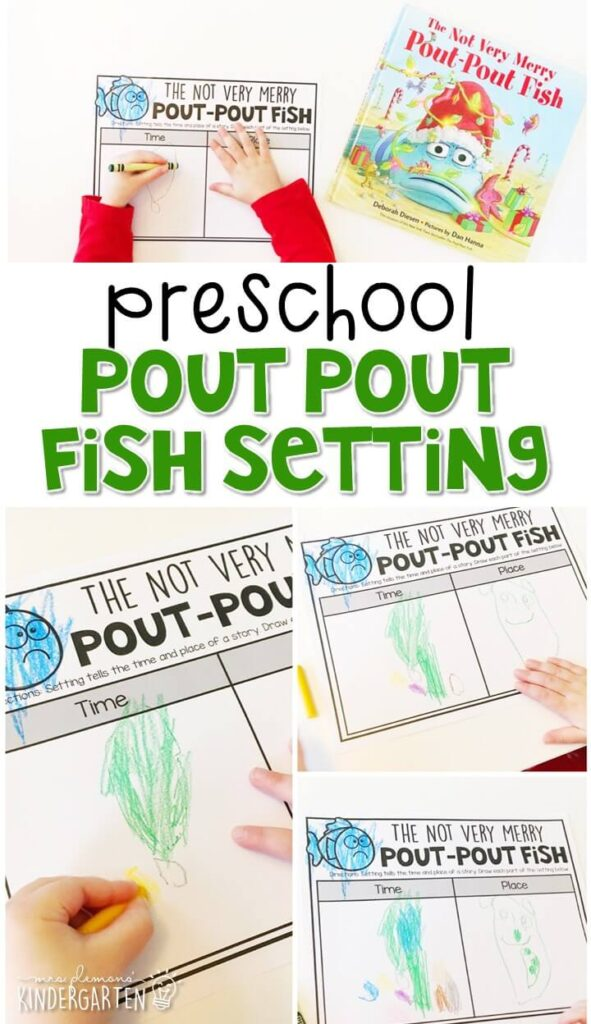 """Practice identifying characters with """"The Not Very Merry Pout-Pout Fish"""" by Deborah Diesen. Great for a Christmas theme in tot school, preschool, or even kindergarten!"""